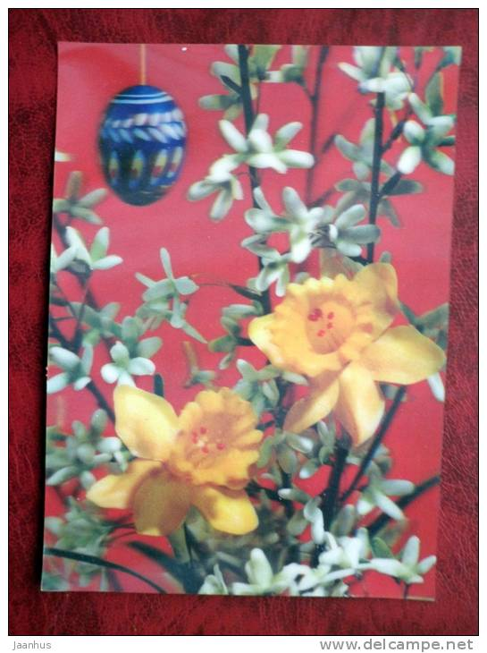 Switzerland - 3D - stereo - Easter - Narcissus - eggs - flowers - sent in Finland -  stamped!! - used - JH Postcards