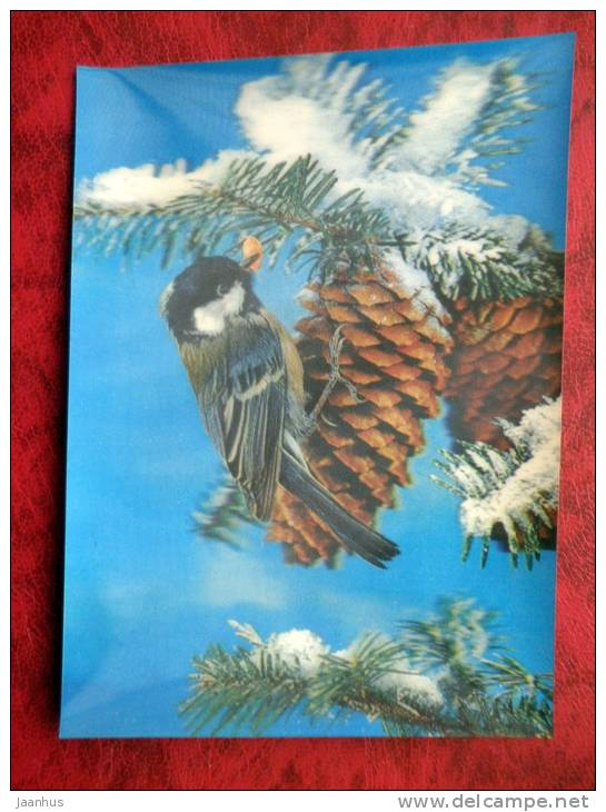 Switzerland - 3D - stereo - New Year - Christmas - birds - cones - sent in Finland - used - JH Postcards