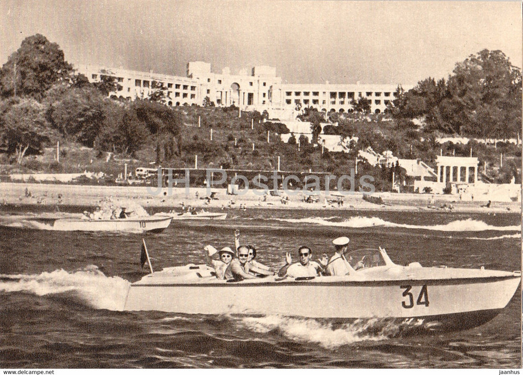 Sochi - view from the sea to the sanatorium Novye Sochi (New Sochi) - motor boat - 1958 - Russia USSR - unused - JH Postcards