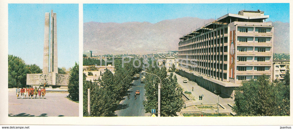 Leninabad - Khujand - monument to the soldiers who died in WWII - Lenin street - 1979 - Tajikistan USSR - unused - JH Postcards