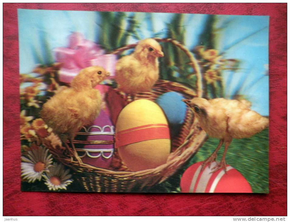 Japan - 3D - stereo - easter - chiken - eggs - sent from Sweden to  Finland - 1983 - Stamped!! - used - JH Postcards