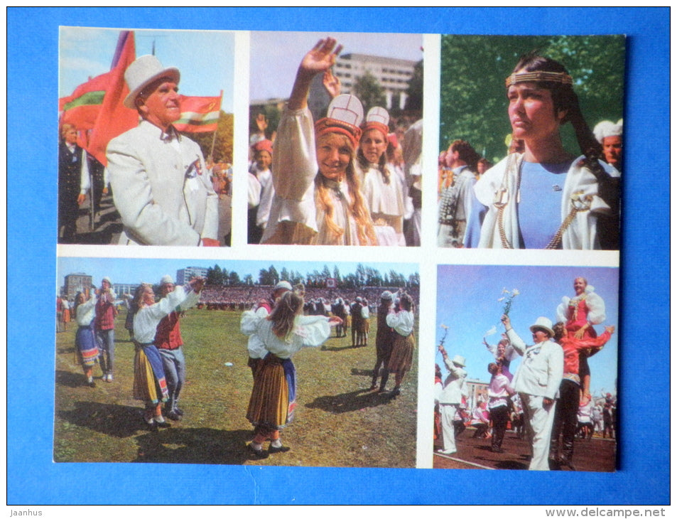 Estonian folk dancers 8 - folk costumes - dance festival - large format card - 1975 - Estonia USSR - unused - JH Postcards