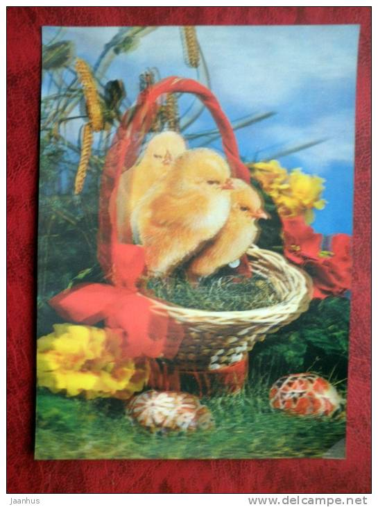 Switzerland - 3D - stereo - easter - chiken - eggs - sent in Finland - 1992 - Stamped!! - used - JH Postcards