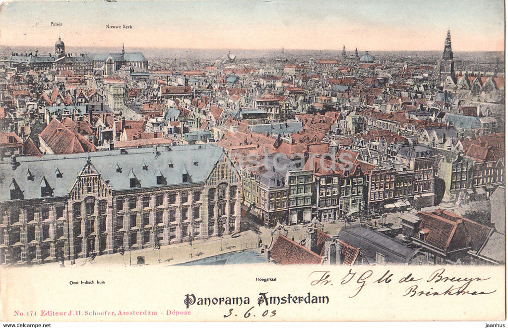 Panorama Amsterdam - Hoogstraat - Oost Indisch huis - old postcard - 1903 - Netherlands - used - JH Postcards