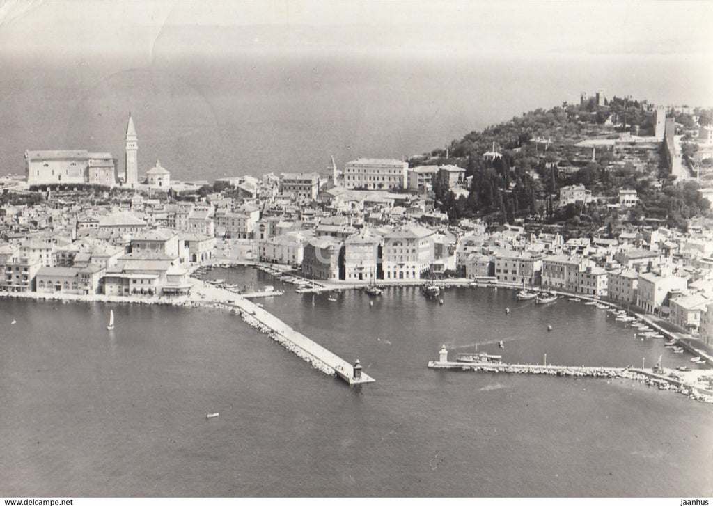Piran - aerial view - 1964 - Yugoslavia - Slovenia - used - JH Postcards