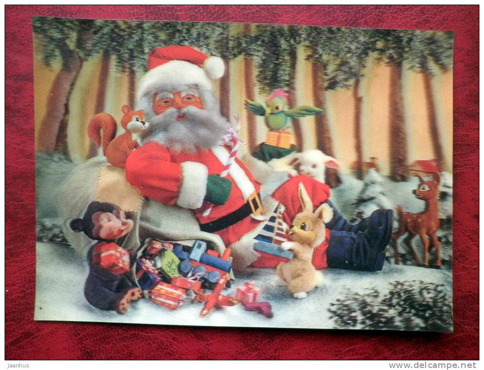 Japan - 3D - stereo - New Year - Christmas - Santa Claus - Rabbit - squirrel - sent in Finland - used - JH Postcards