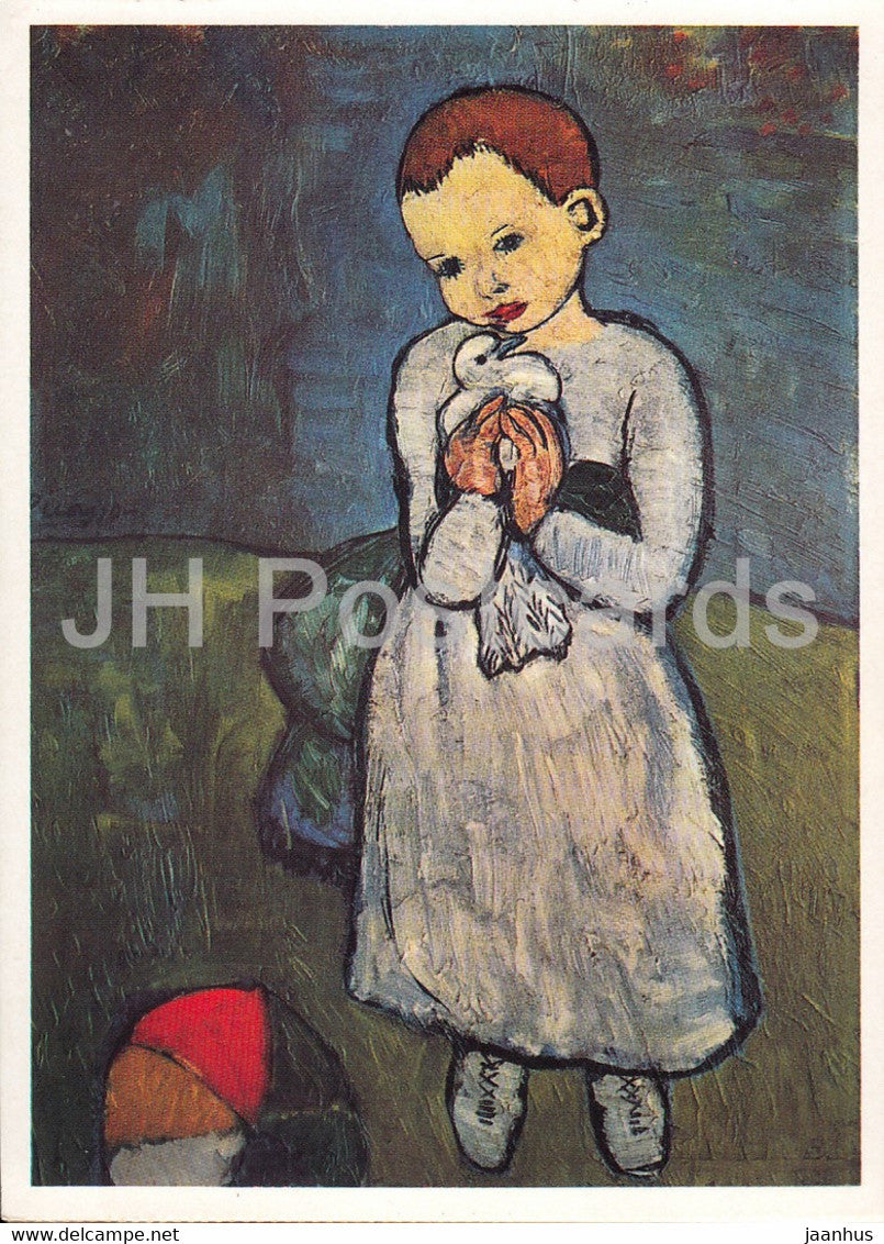 painting by Pablo Picasso - Kind mit einer Taube - child wit a dove - Spanish art - Germany - unused - JH Postcards