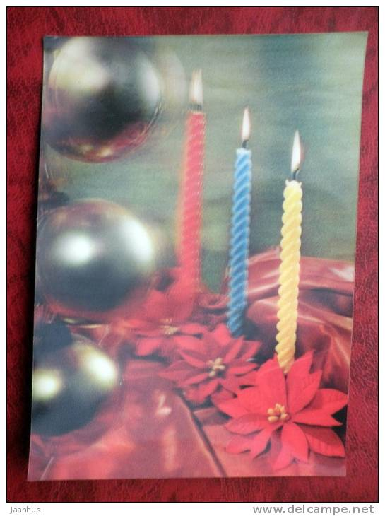 Switzerland - 3D - stereo - New Year - Christmas - Candles - sent in Finland - nice stamps!! - 1974 - used - JH Postcards