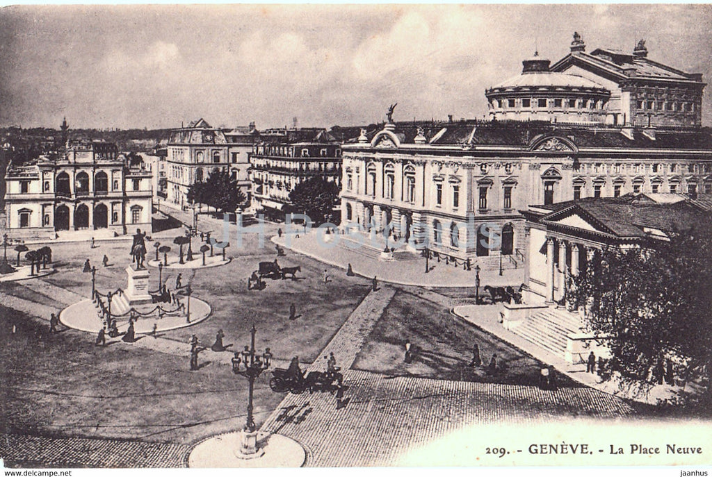 Geneve - Geneva - La Place Neuve - 209 - old postcard - Switzerland - unused - JH Postcards