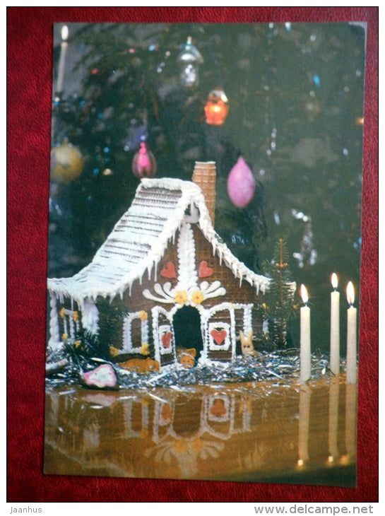 New Year Greeting card - gingerbread house - candles - christmas tree - 1990 - Estonia USSR - used - JH Postcards