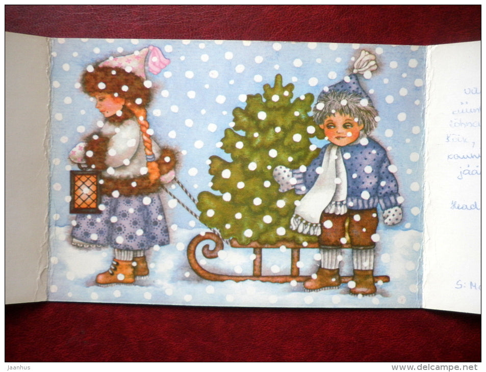 New Year Greeting card - by V. Noor - sledge - christmas tree - lamp - 1988 - Estonia USSR - used - JH Postcards