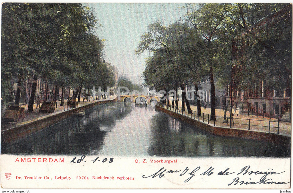 Amsterdam - O Z Voorburgwal - old postcard - 1903 - Netherlands - used - JH Postcards