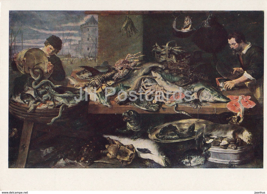 painting by Frans Snyders - Fish Shop - Flemish art - 1961 - Russia USSR - unused - JH Postcards