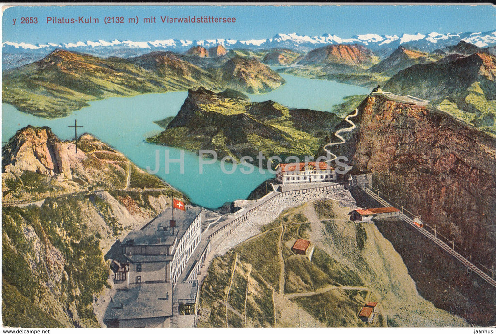 Pilatus Kulm 2132 m mit Vierwaldstattersee - 2653 - old postcard - Switzerland - unused - JH Postcards