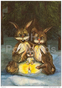 New Year Greeting Card by A. Arus - 1 - hare - candle - 1990 - Estonia USSR - used - JH Postcards