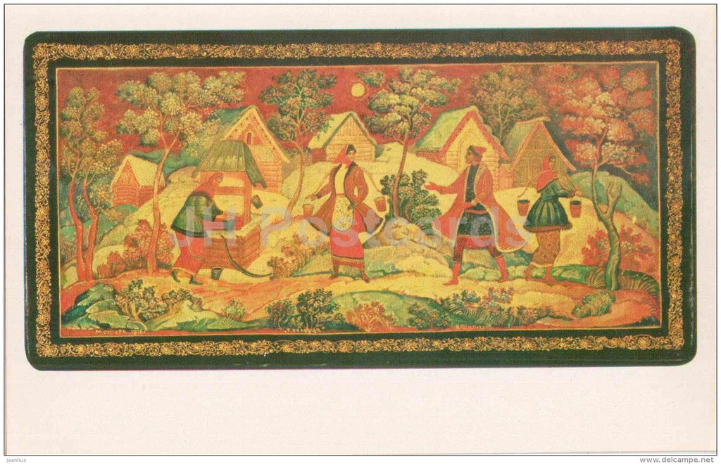 by Nikolai Shishakov - Scene by a Well , 1976 - Lacquered Miniatures from Mstiora - 1982 - Russia USSR - unused - JH Postcards