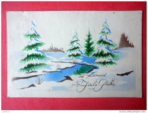 christmas greeting card - river - trees - winter - Ed. Eilman - circulated in Estonia 1930s - JH Postcards
