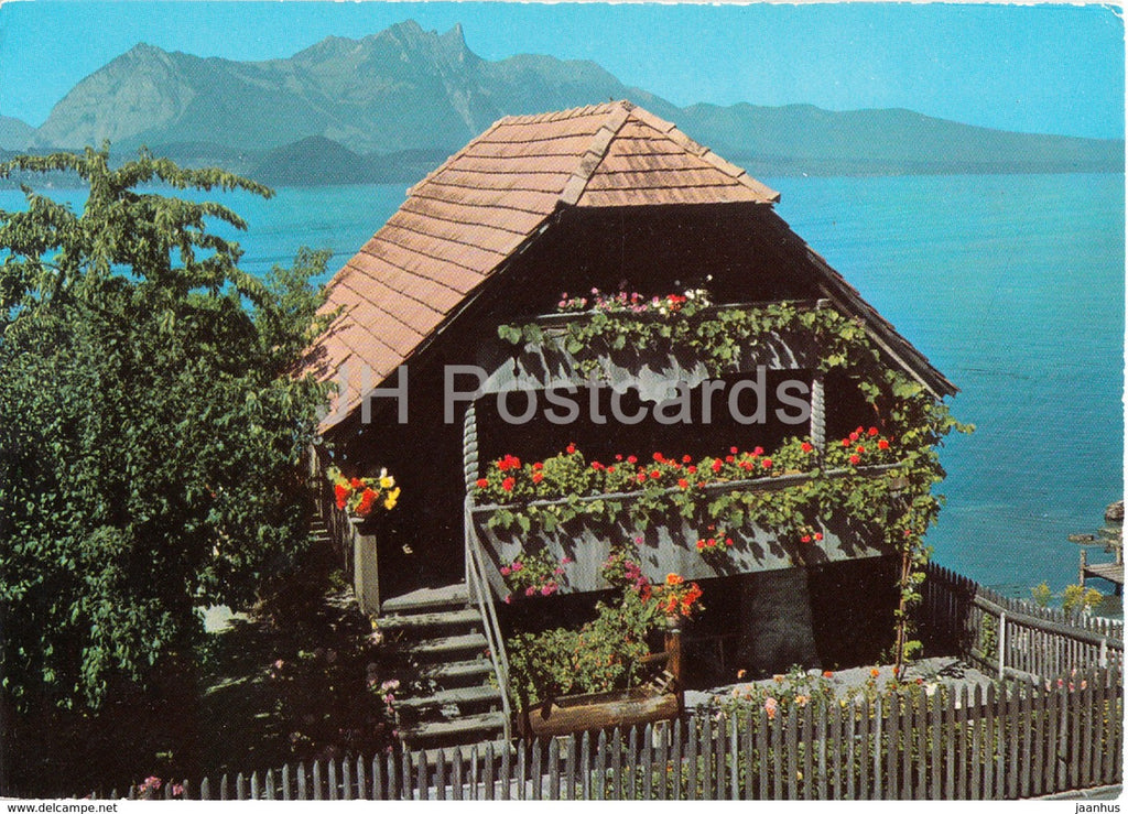 Alter Speicher in Kirche Merligen am Thunersee - church - 8755 - 1974 - Switzerland - used - JH Postcards