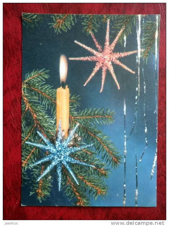 New Year, Christmas greeting card - Neujahr, Weihnachten - candle - decorations - sent to Estonia 1973 - Germany - used - JH Postcards
