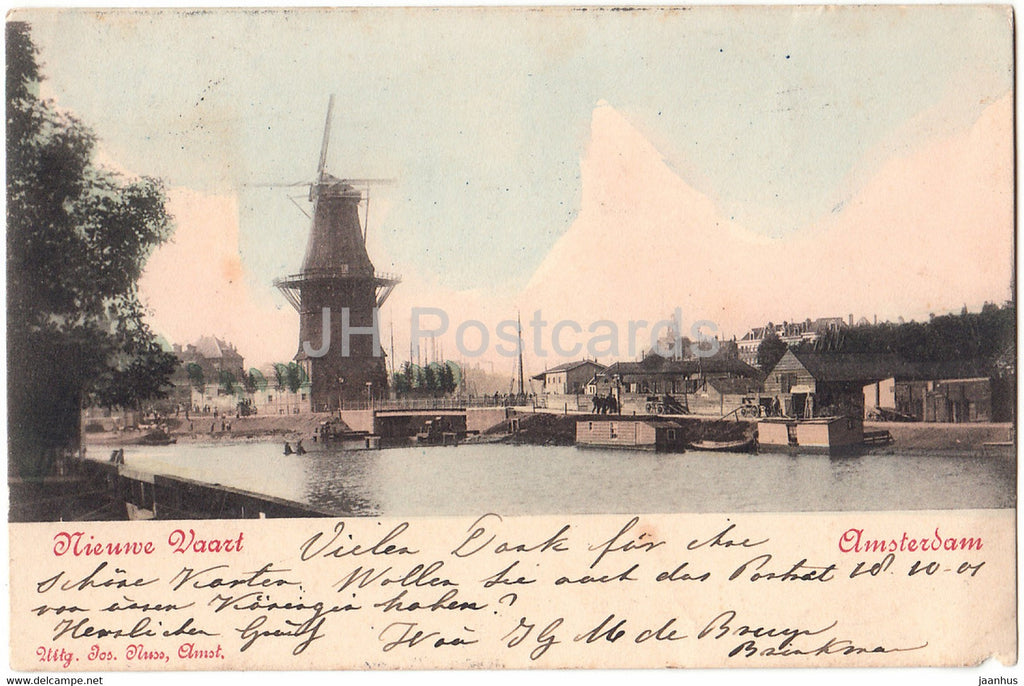 Amsterdam - Nieuwe Vaart - windmill - old postcard - 1901 - Netherlands - used - JH Postcards