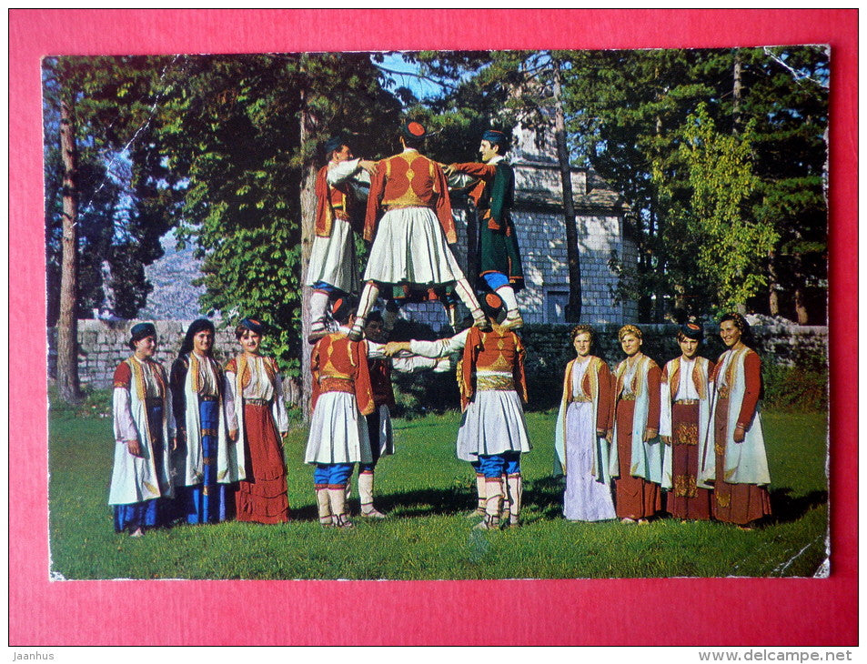 Montenegrin National Costumes - folk - train - airplane - 1219 - Yugoslavia - sent from Yugoslavia to Estonia USSR 1988 - JH Postcards