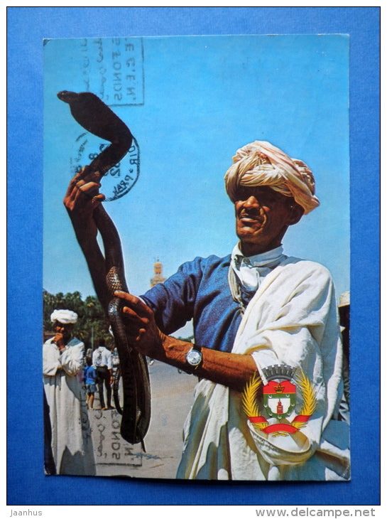 Man with Cobra - Marrakesh - sent from Morocco to Estonia USSR 1982 , Tallinn - Morocco - used - JH Postcards