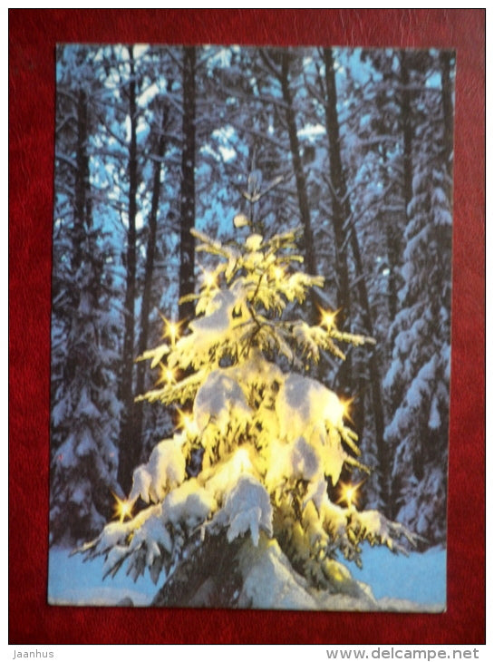 New Year Greeting card - christmas tree in forest - 1987 - Estonia USSR - used - JH Postcards