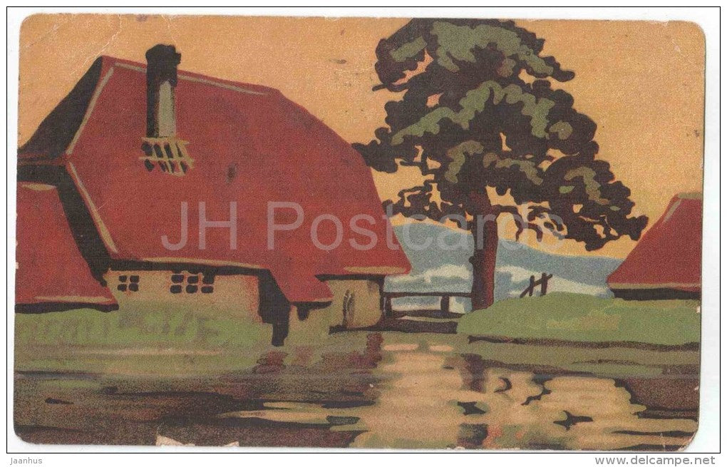 illustration - house - KGL 1068 - circulated in Estonia Kohila 1922 - JH Postcards