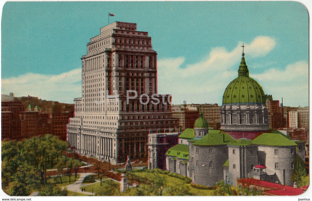 Montreal Sun Life Building and St James Cathedral - Edifice Sun Life et la Cathedrale St Jacques - Canada - unused - JH Postcards