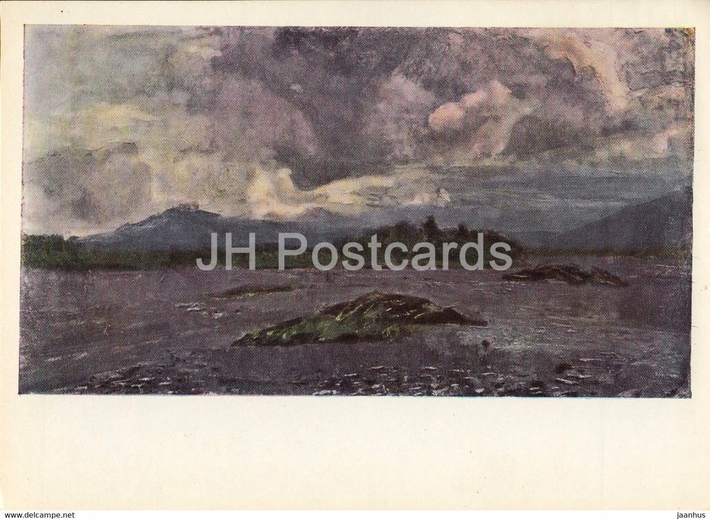painting by A. Stroganov - The Flood - Mongolian art - 1966 - Russia USSR - unused - JH Postcards