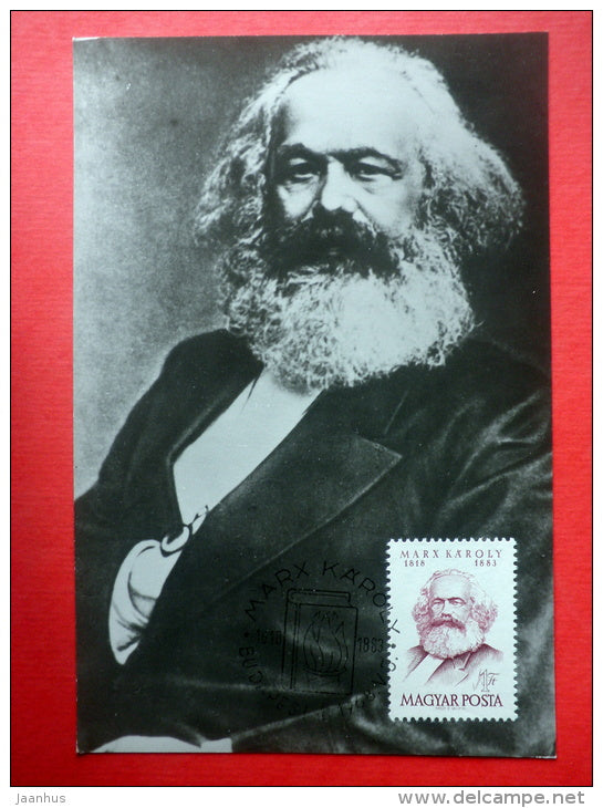 Maximum Card - Karl Marx - 1968 - Hungary - unused - JH Postcards