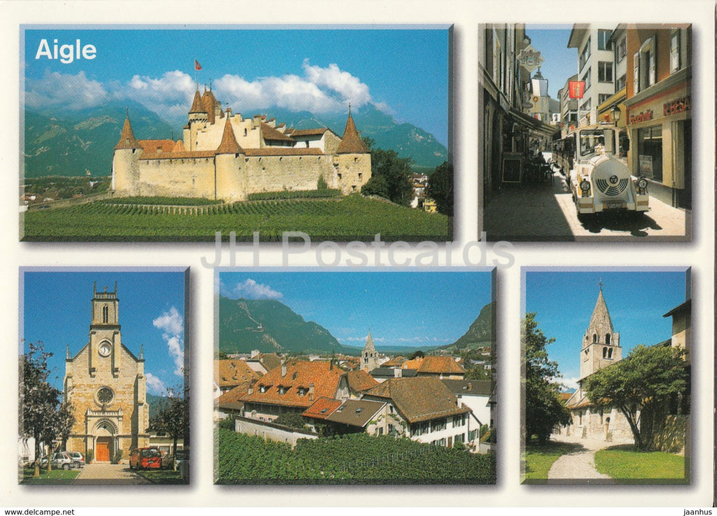 Aigle - castle - church - 23557 - Switzerland - unused - JH Postcards