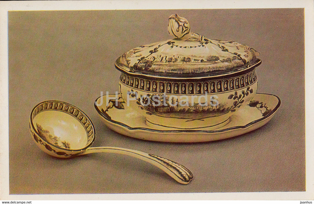 Sauce boat on stand with cover and spoon from the Green Frog service - English Applied Art - 1983 - Russia USSR - unused - JH Postcards