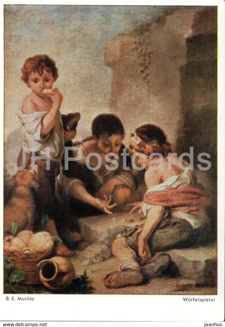 painting by B E Murillo - Wurfelspieler - children - dice player - game - Spanish art - Germany - unused - JH Postcards