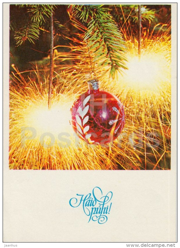 New Year Greeting card - 3 - sparklers - decorations - 1980 - Estonia USSR - used - JH Postcards