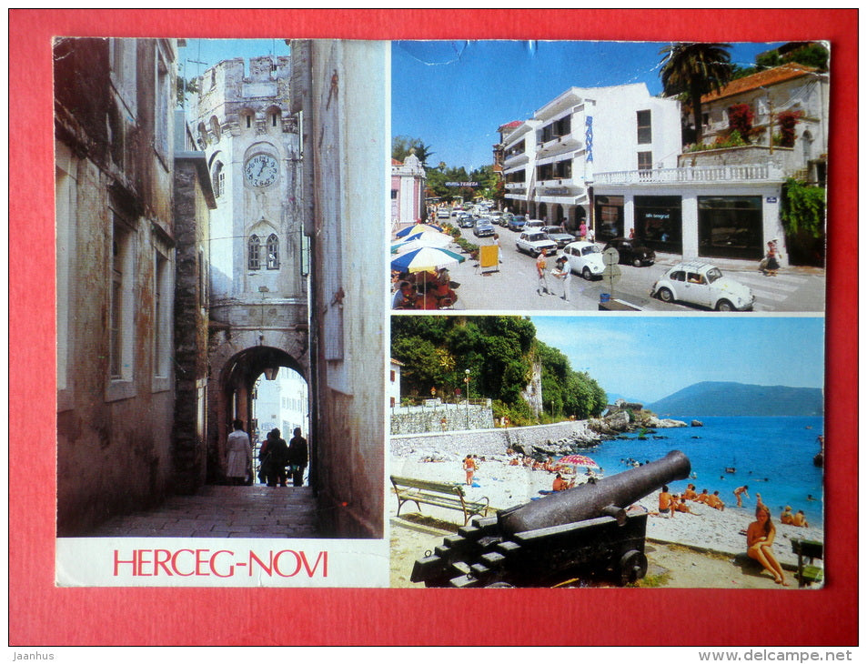 streets - cannon - train - Herceg Novi - Montenegro - Yugoslavia - sent from Yugoslavia to Estonia USSR 1987 - JH Postcards