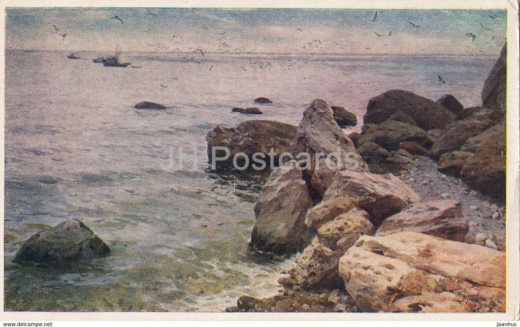 painting by V. Puzirkov - Calm Sea - Ukraine art - 1954 - Ukraine USSR - unused - JH Postcards
