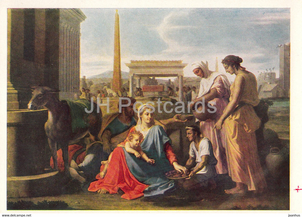 painting by Nicolas Poussin - Repose upon the Flight into Egypt - donkey - French art - 1966 - Russia USSR - unused - JH Postcards
