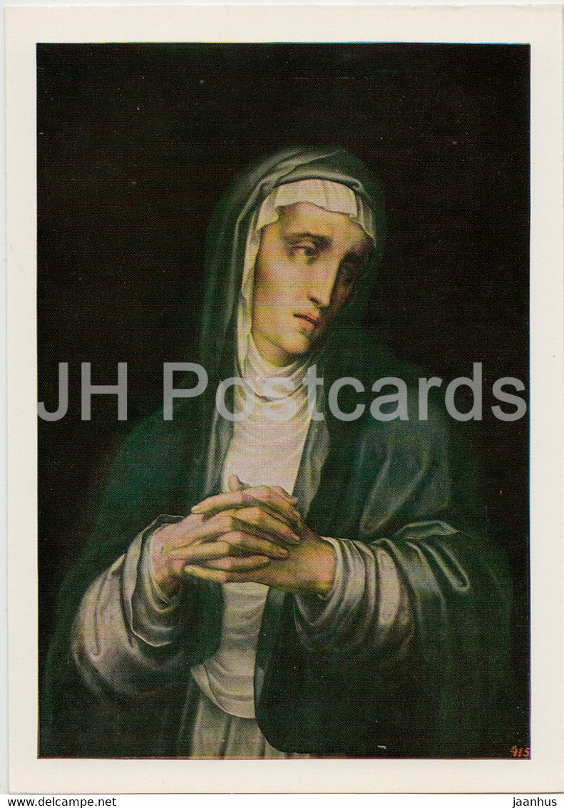 painting by Luis de Morales - The Virgin Dolorosa - Spanish art - 1984 - Russia USSR - unused - JH Postcards