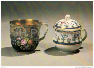 Cup and Creamer , Popov´s Factory - Russian porcelain of 18.-19. century - 1984 - Russia USSR - unused - JH Postcards