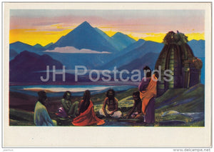 painting by S. Roerich - Yoga Meeting , 1939 - mountain - Russian art - 1960 - Russia USSR - unused - JH Postcards