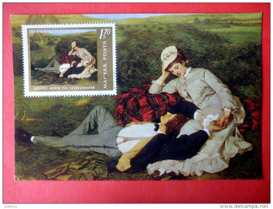 Maximum Card - painting by Szinyei Merse Pal , Loving Couple - 1968 - Hungary - unused - JH Postcards