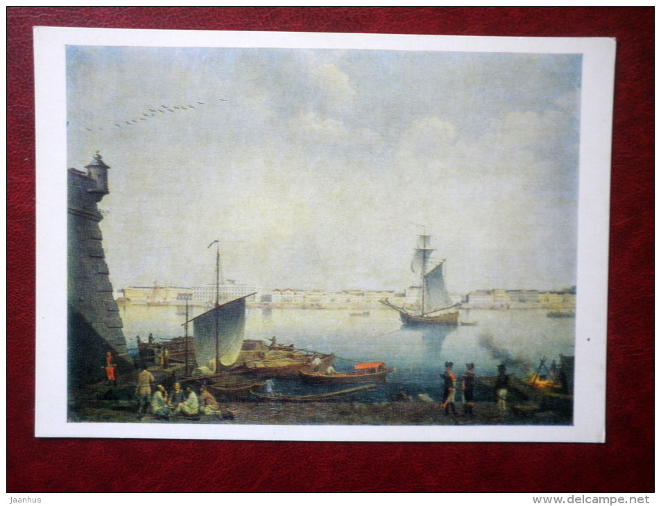 painting by Benjamin Patersen - View of the Palace Embankment in St. Petersburg , 1793 - ship - swedish art - unused - JH Postcards