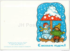 New Year mini Greeting Card by I. Makarova - snowman - girl - candle - 1990 - Russia USSR - unused - JH Postcards