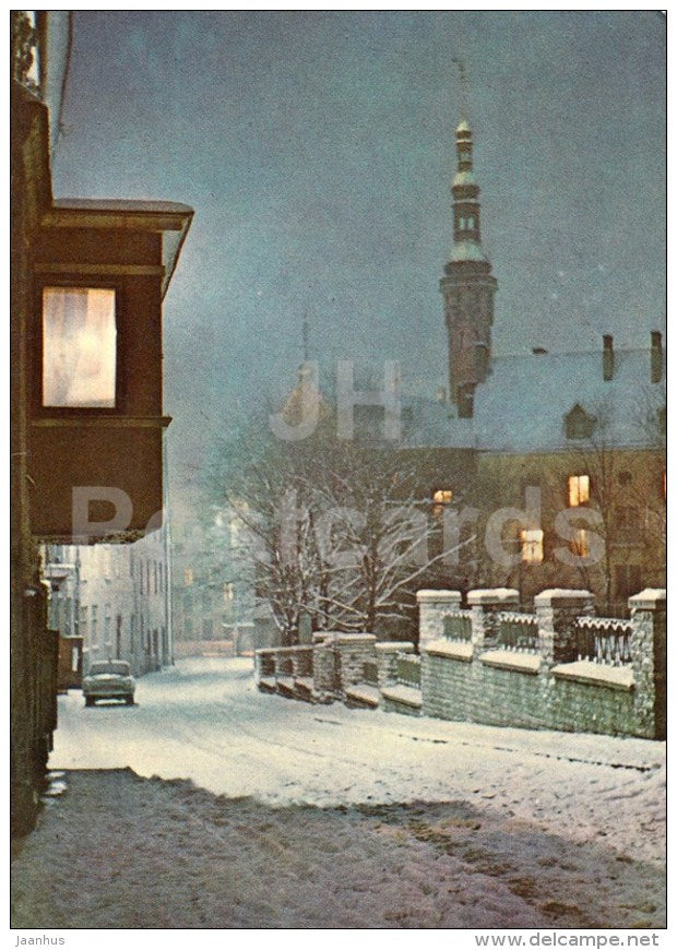 New Year Greeting Card - Tallinn Old Town - 1979 - Estonia USSR - used - JH Postcards