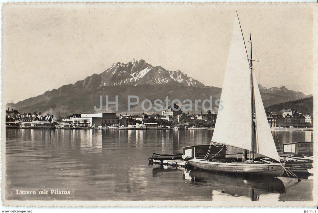 Luzern mit Pilatus - Lucerne - sailing boat - 5088 - old postcard - Switzerland - unused - JH Postcards