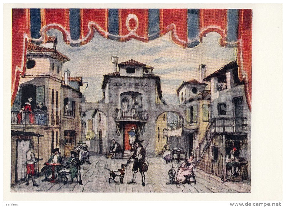 painting by A. Benois - Market Place . Sketch of decor for The Fan , 1924 - Russian art - 1967 - Russia USSR - unused - JH Postcards