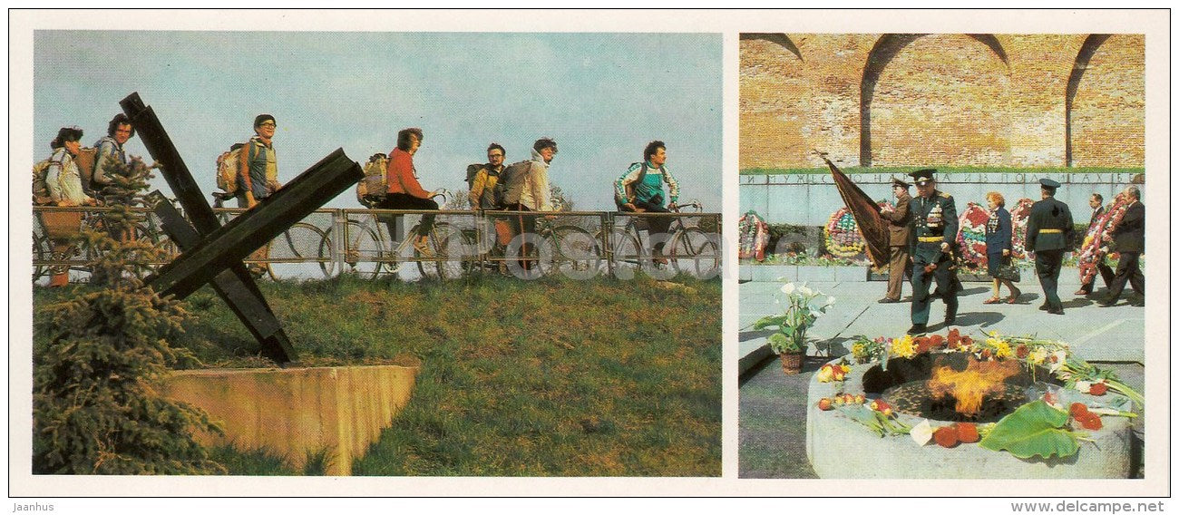 Eternal Flame - WWII monument - bicycle - Novgorod Region - 1985 - Russia USSR - unused - JH Postcards
