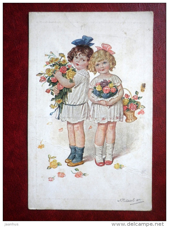 illustration by Kränzle - girls with flowers - old postcard - Austria - unused - JH Postcards