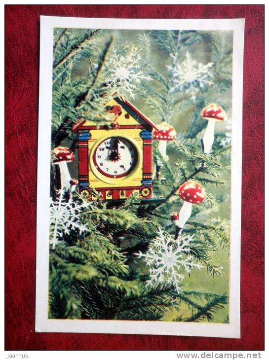 New Year - Christmas Tree - clock - Russia - USSR - 1971 - used - JH Postcards